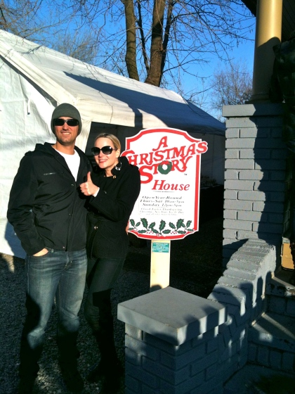 Katherine and her hubby Eric in front of the Christmas Story House in Tremont.