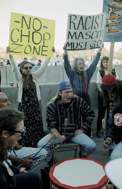 File photo:  Fans stage mascot protest before Game One of the 1995 World Series between the Atlanta Braves and Cleveland Indians at Atlanta-Fulton County Stadium on October 21, 1995 in Atlanta, Georgia. (Photo by Otto Greule Jr/Getty Images)