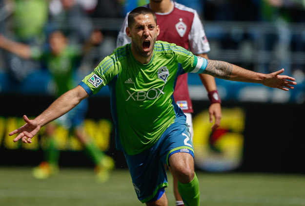 SEATTLE, WA - APRIL 26:  Clint Dempsey #2 of the Seattle Sounders FC reacts after scoring his second goal against the Colorado Rapids at CenturyLink Field on April 26, 2014 in Seattle, Washington. The Sounders defeated the Rapids 4-1.