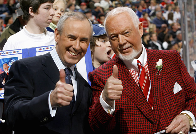 OTTAWA - FEBRUARY 3:  (L-R) Ron MacLean and Don Cherry of CBC's Hockey Night in Canada give a thumbs up salute before a game between the Toronto Maple Leafs and the Ottawa Senators on February 3, 2007 at the Scotiabank Place in Ottawa, Canada. The Maple Leafs won 3-2 in shootout overtime.