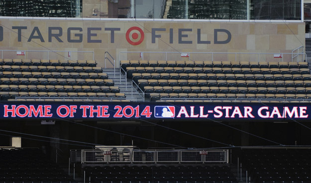MINNEAPOLIS, MN - AUGUST 29: A general view of signage at Target Field as MLB commissioner Bud Selig addresses the media as the announcement is made for the location 2014 All-Star Game on August 29, 2012 in Minneapolis, Minnesota.