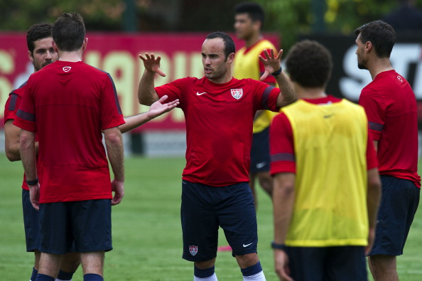 "US national football team player Landon Donovan (C) gestures during a training session at the Sao Paulo FC training centre in Sao Paulo, Brazil on January 14, 2014. The US national football squad kicked off a 12-day training session in Sao Paulo on Tuesday as part of their ""dry run"" for the upcoming World Cup. (credit: NELSON ALMEIDA/AFP/Getty Images)"