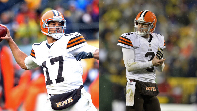 Jason Campbell #17 & Brandon Weeden #3 (credit: Karl Walter/Getty Images & Brian Kersey/Getty Images)