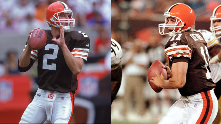 Tim Couch #2 & Ty Detmer #11 (Credit: Donald Miralle /Allsport & DAVID MAXWELL/AFP/Getty Images)