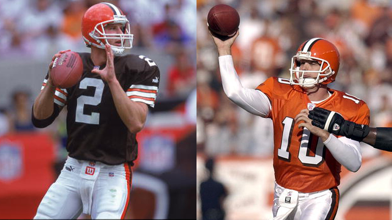 Tim Couch #2 & Kelly Holcomb #10 (Credit: Donald Miralle /Allsport & David Maxwell/Getty Images)