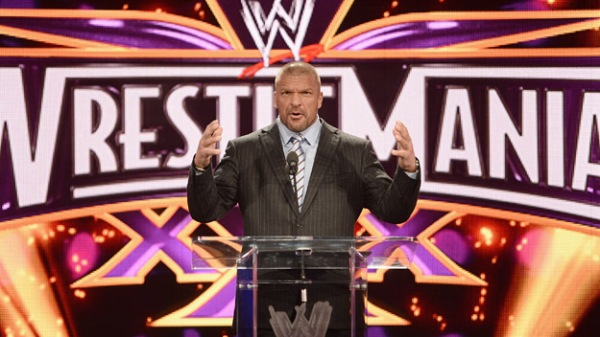 Triple H attends the WrestleMania 30 press conference.