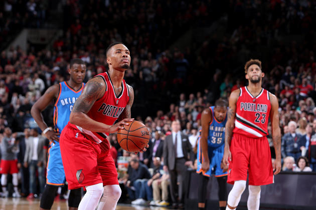 Damian Lillard #0 of the Portland Trail Blazers shoots a free throw during the game against the Oklahoma City Thunder on January 10, 2016 at the Moda Center in Portland, Oregon.