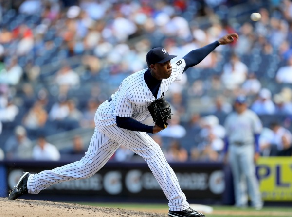 Aroldis Chapman #54 of the New York Yankees (Photo by Elsa/Getty Images)