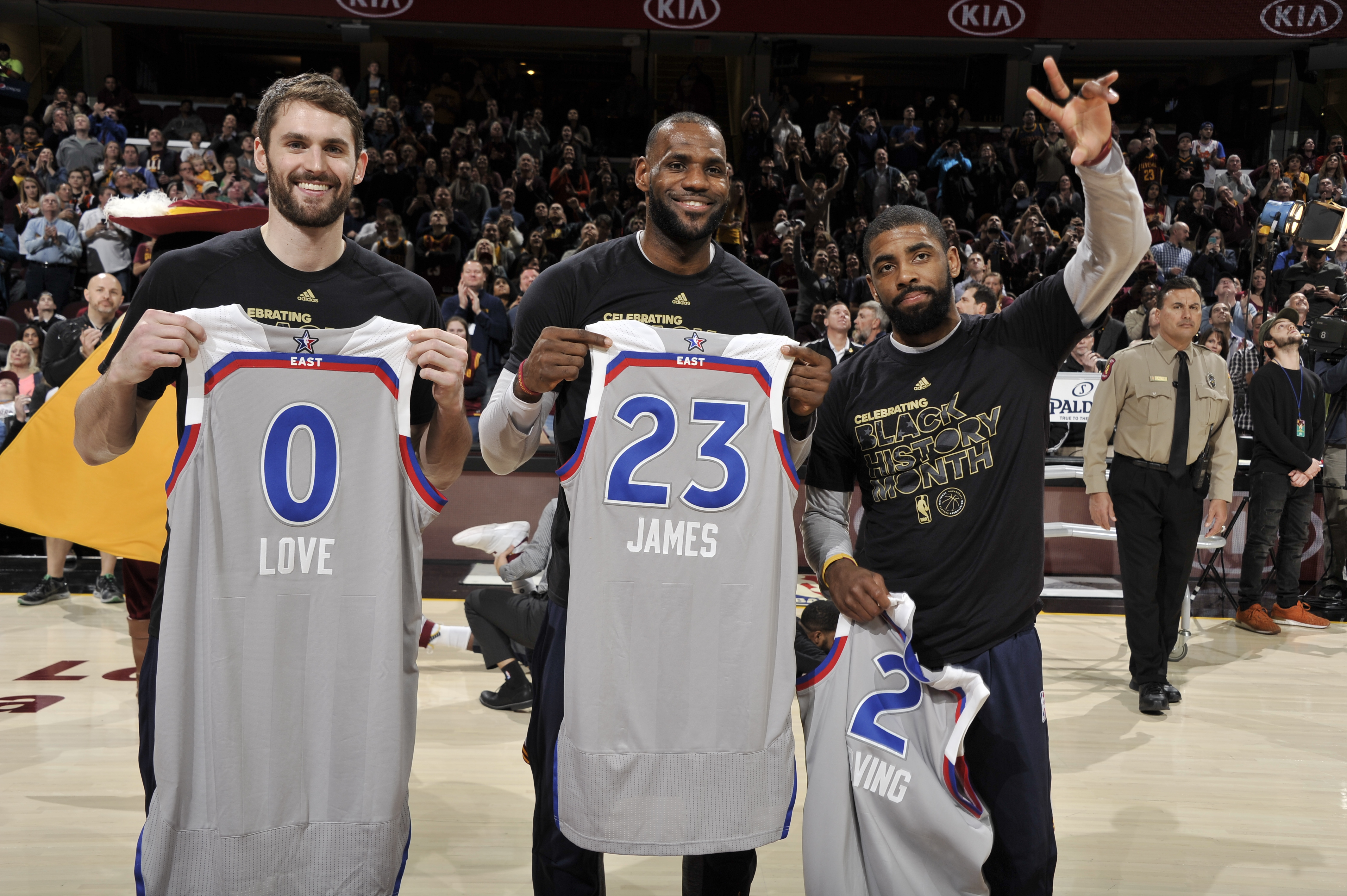 sports shoes 628d7 40e61 Cavs' Big 3 Show Off Their 2017 All-Star Jerseys Prior To ...