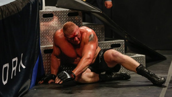 Brock Lesnar in action during his fight against The Undertaker at the WWE SummerSlam 2015 at Barclays Center of Brooklyn on August 23, 2015 in New York City.