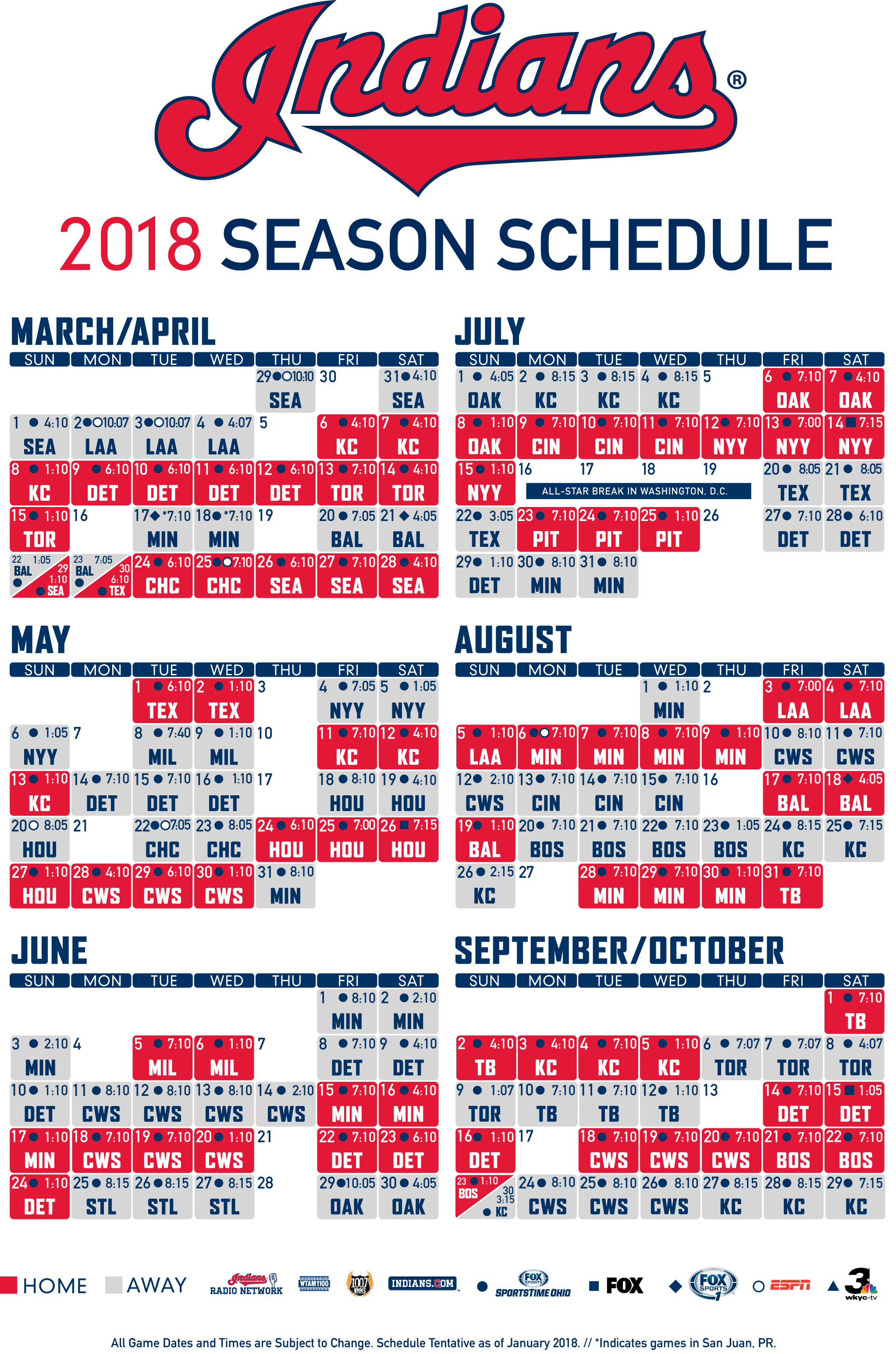 graphic about Cleveland Cavaliers Printable Schedule titled Cleveland Indians Unveil 2018 Plan CBS Cleveland